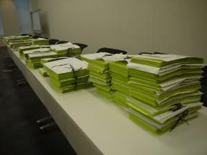 50万筆以上あつまった署名用紙(2014年・平成26年)。